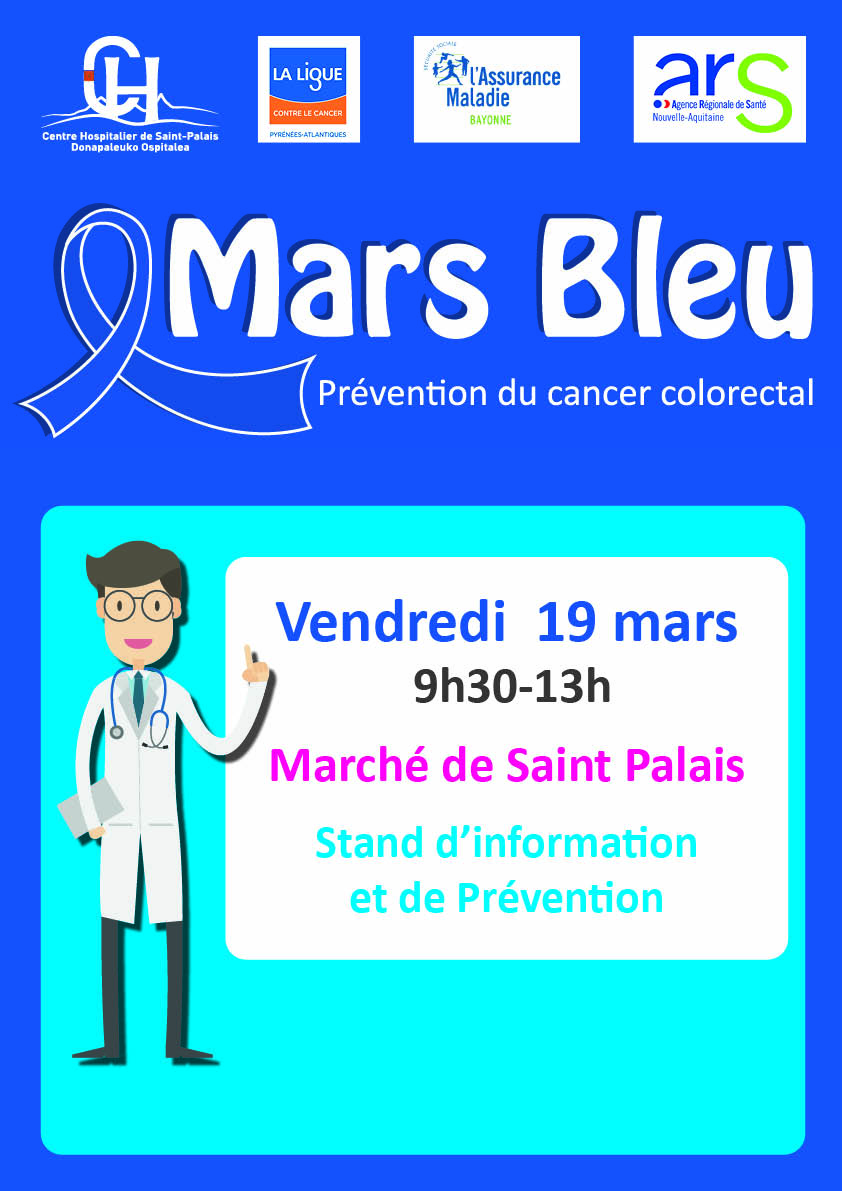 Mars Bleu : Prévention cancer colorectal Saint-Palais 19 mars